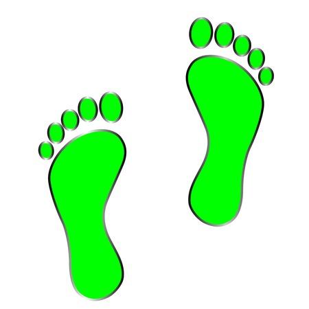 dirty feet: black footprint .   Isolated on white background . vektor