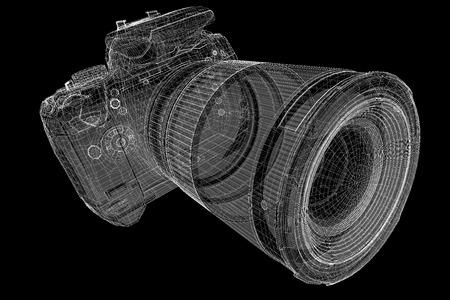 telephoto: Black digital camera 3D model body structure, wire model Stock Photo