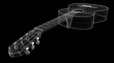 fretboard: Acoustic Guitar 3D model body structure, wire model