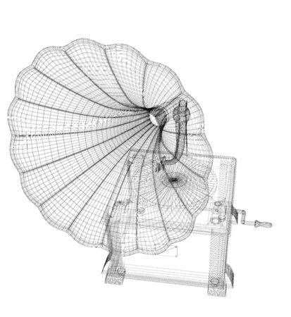 Gramophone 3D model body structure, wire model Stock Photo