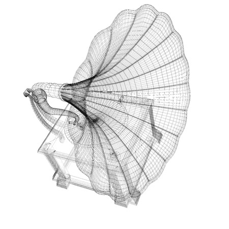 Gramophone 3D model body structure, wire model photo