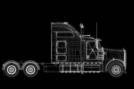 Logistics - Trucking - 3D model, body structure , wire model photo