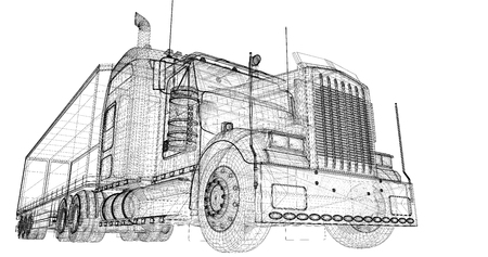 Cargo Delivery Vehicle, body structure, wire model photo