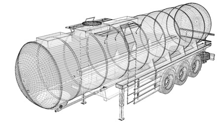 Tanker Truck Isolated Logistics - Trucking body structure , wire model photo