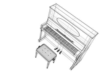 Antique Piano with path, 3D model body structure, wire model