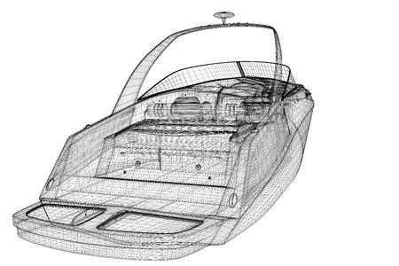 deportes nauticos: lancha motora, Lancha motor Speeding, estructura de la carrocer�a del modelo 3D, modelo de alambre Foto de archivo