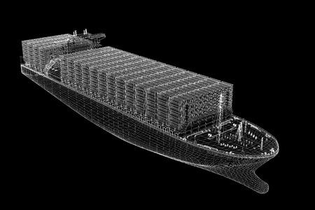 Containerschip Cargo 3D-model van het lichaam structuur, draad model