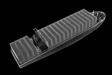 Container Ship Cargo 3D model body structure, wire model photo