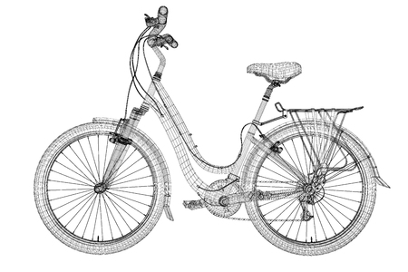 Mountain Bicycle 3D model, body structure , wire model photo