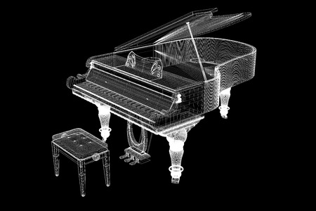 ivories: Antique grand  Piano with path, 3D model body structure, wire mode