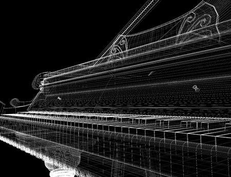 Antieke grand piano met pad, 3D-model van het lichaam structuur, draad model Stockfoto