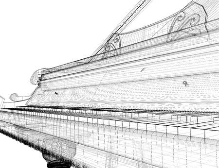 Antique grand  Piano with path, 3D model body structure, wire model Foto de archivo