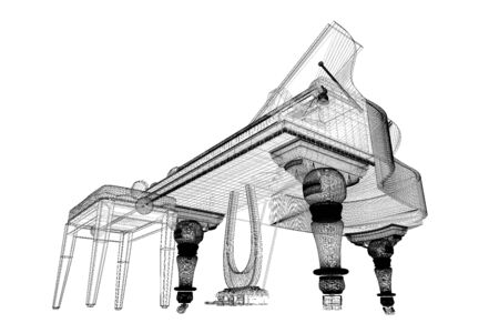 Antique grand  Piano with path, 3D model body structure, wire model photo