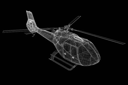 helicopter, 3D model, body structure , wire model photo