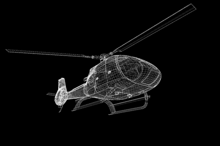 piloting: helicopter, 3D model, body structure , wire model