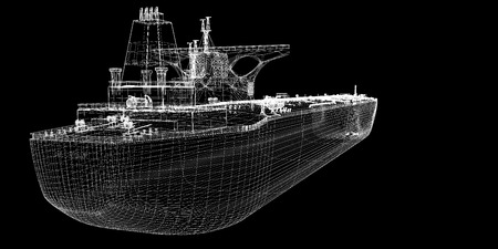 mining ship: Tanker crude oil carrier ship, 3D model body structure, wire model Stock Photo