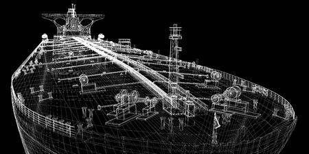 유조선 원유 캐리어 선박, 3D 모델의 신체 구조, 와이어 모델