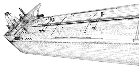 Tanker crude oil carrier ship, 3D model body structure, wire model photo