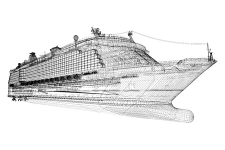 cruise liner, ship,  body structure, wire model