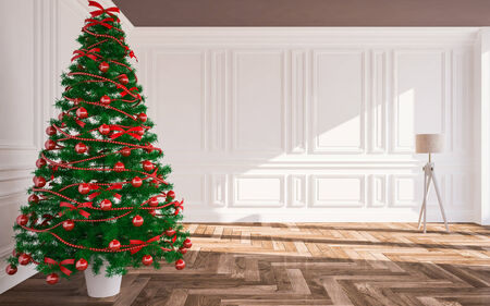 cold room: Christmas classic interior  with  Christmas tree ,Lamp