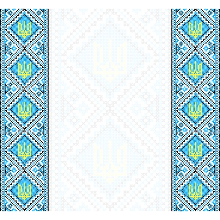rushnik: Embroidery. Ukrainian national ornament  with a trident