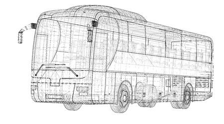 Bus, autobus, model body structure, wire model photo