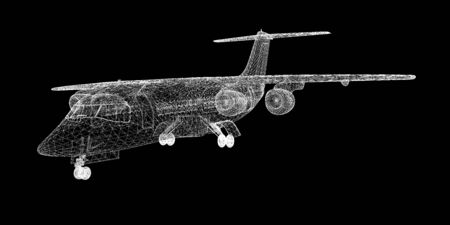 airplane mode: Commercial Airliner, Jet,body structure, wire model Stock Photo