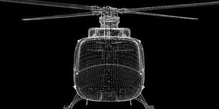 Military Sealift helicopter,  body structure , wire model photo