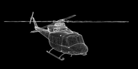 work force: Military Sealift helicopter,  body structure , wire model
