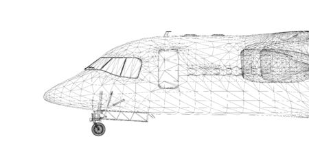 Commercial Airliner, Jet,body structure, wire model Stock Photo