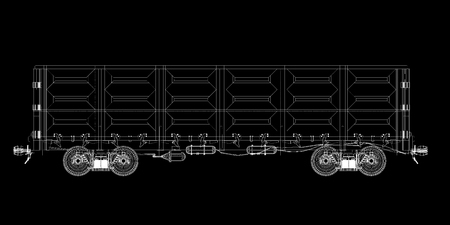 covered wagon: Goods Vagon , railway carriagebody structure, wire model