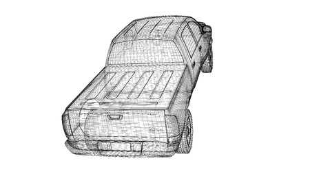 pick up truck , model body structure, wire model photo