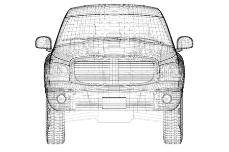 pick up truck , model body structure, wire model
