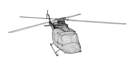 blackhawk helicopter: Military Sealift helicopter,  body structure , wire model