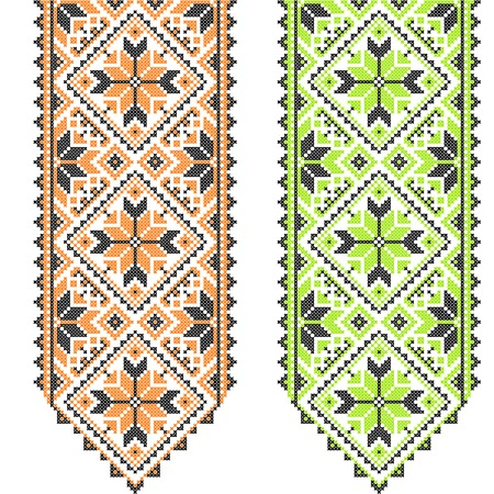 needlecraft product: Embroidery. Ukrainian national ornament decoration. Vector illustration