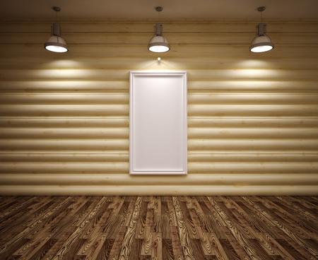 Banner on wood  wall with lamps and floor photo