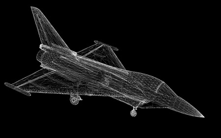 band silhouette: Fighter Plane model, body structure, wire model