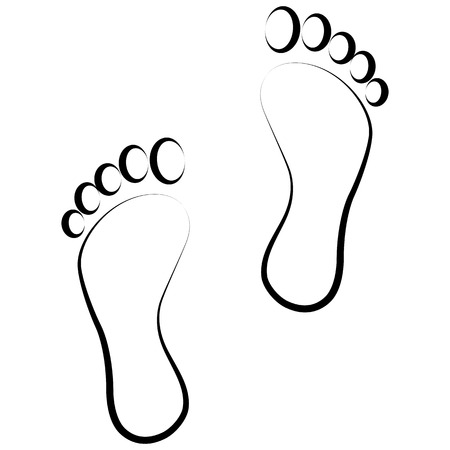 black foot: black footprint  . Isolated on background .