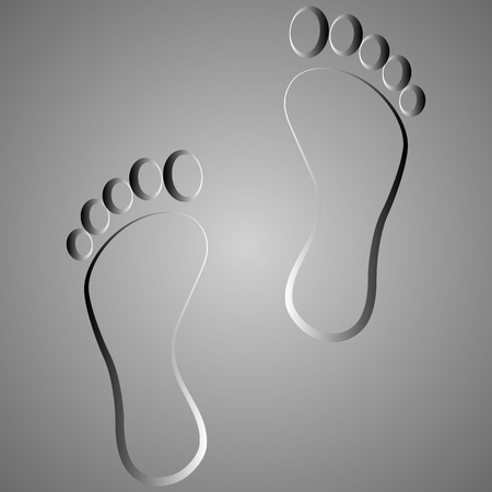 black footprint  . Isolated on background .