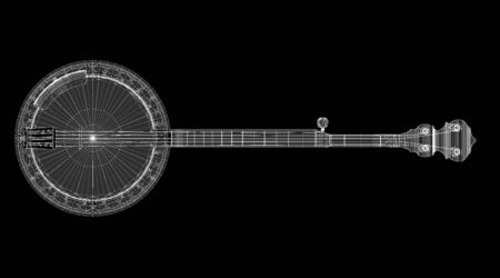 arts culture and entertainment: Banjo model  - 5 string, body structure, wire model