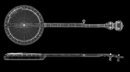 bluegrass: Banjo model  - 5 string, body structure, wire model