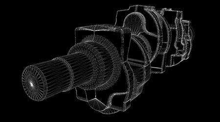 crankshaft: crankshaft body structure, wire model on background