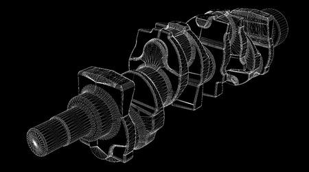 crankshaft: crankshaft body structure, wire model on background