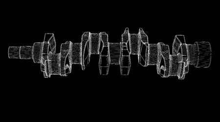 crankshaft body structure, wire model on background