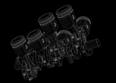 engine pistons: Pistons, V8 engine, body structure, wire model Stock Photo