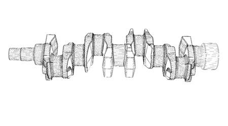 shaft: crankshaft, body structure, wire model on background Stock Photo