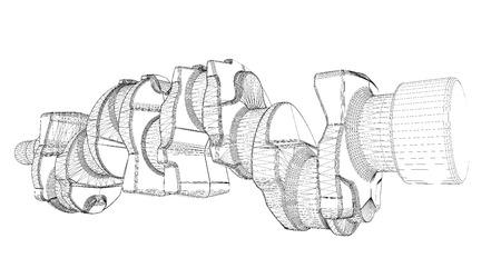 crankshaft: crankshaft, body structure, wire model on background Stock Photo