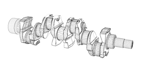 crankshaft: crankshaft, body structure, wire model on background Stock Photo