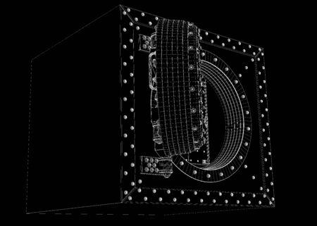 deposit slip: Open bank vault, body structure, wire model
