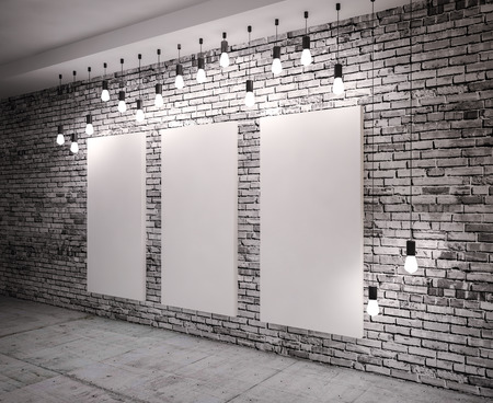 Poster in room on brick,  with retro lamps photo